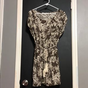 Forever 21 Brown and Cream Leaf Dress